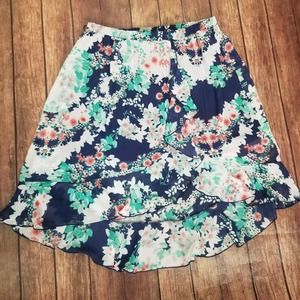 By & By Floral Print Hi Low Layered Skirt Size XL